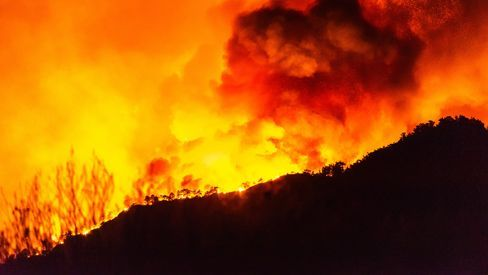 Fires raging in Marmaris, Mugla, Turkey
